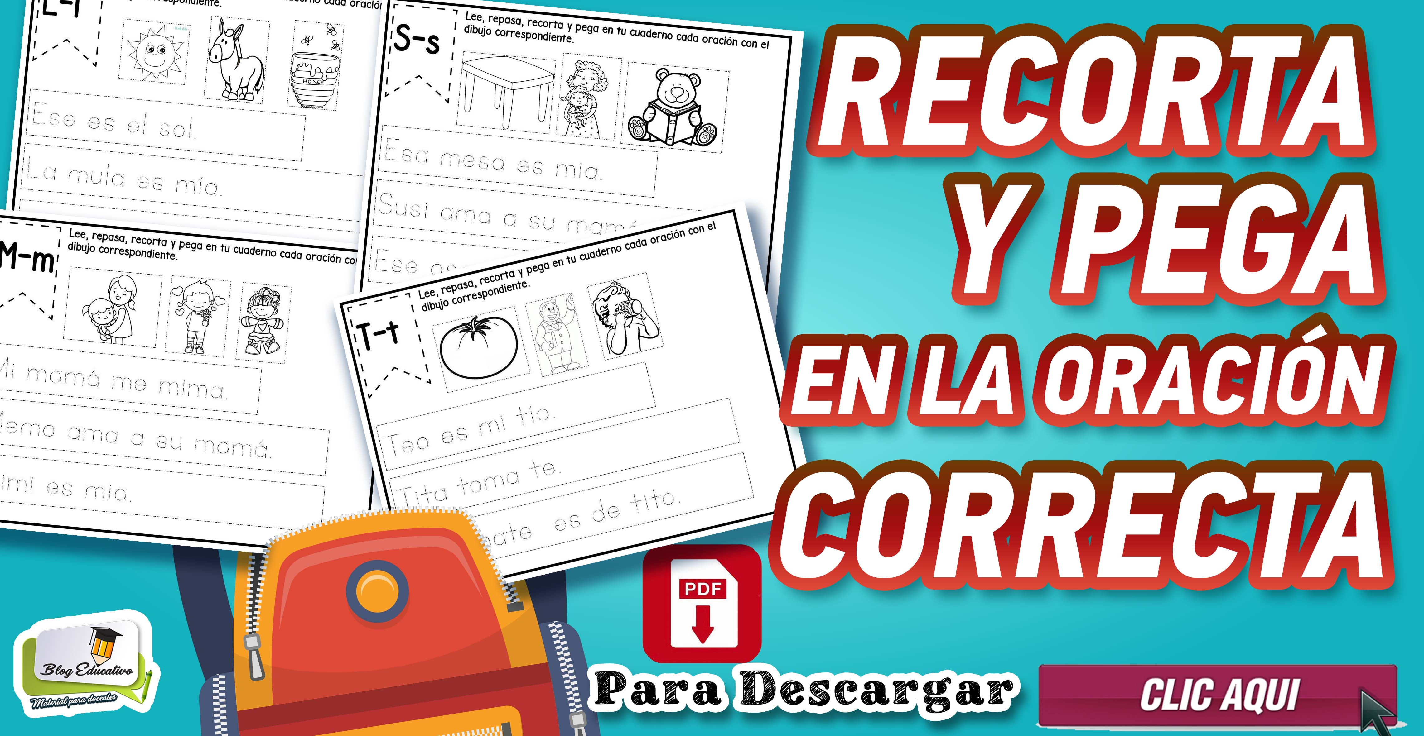 Recorta y pega en la oración Correcta - Blog educativo