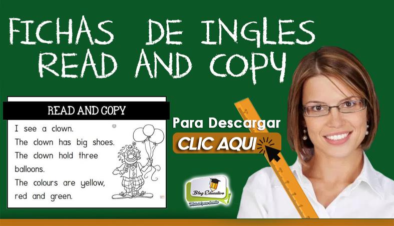 Fichas de ingles Read and Copy Gratis - Blog Educativo