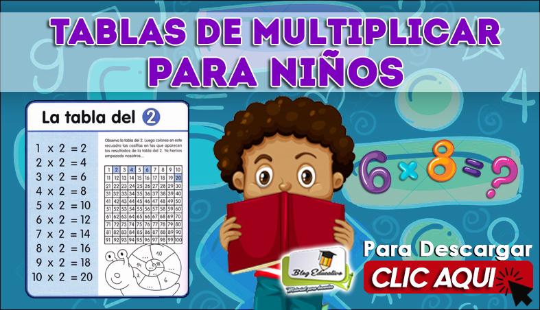 Tablas de Multiplicar para Niños PDF - Blog Educativo