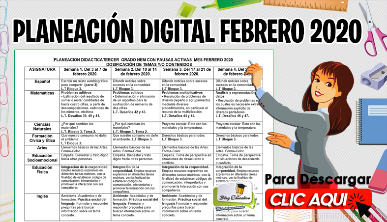 Planeación Digital Febrero 2020 Editable - Blog Educativo