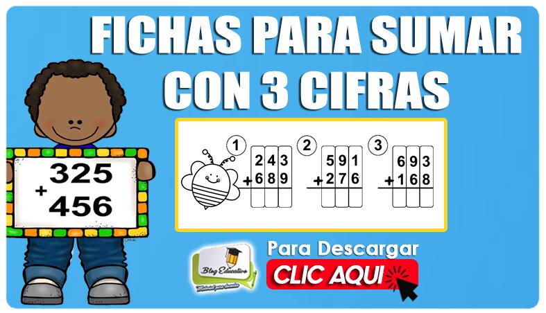 Suma de Tres Cifras Fichas Gratis - Blog Educativo