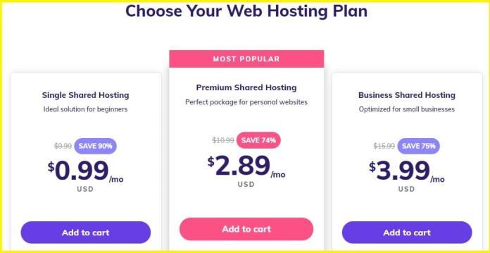 Hostinger Web Hosting pricing