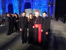 Il cardinale Scola con Tania Kassis, Maen Zakaria e Mahmuod Massaad