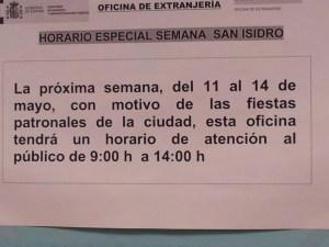 Aviso Manuel Luna horario semana San Isidro