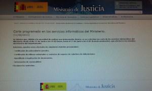 Aviso Ministerio de Justicia corte servicios informáticos