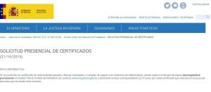 Solicitud presencial de certificados Ministerio de Justicia