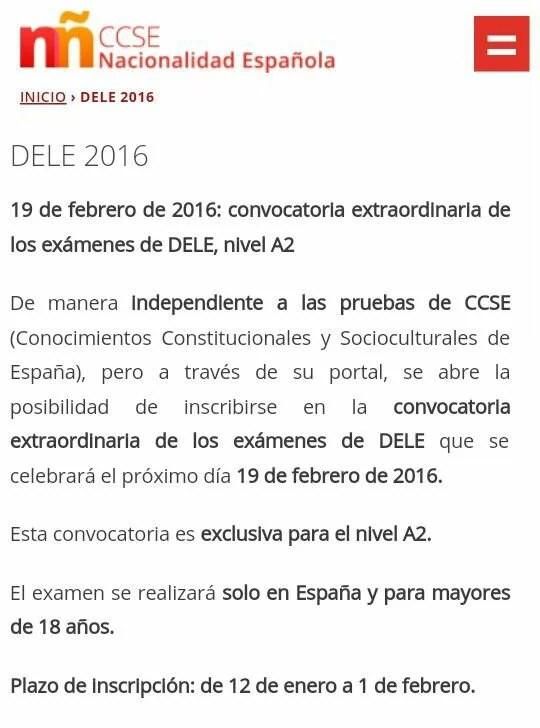 Fechas Exámenes Dele A2 Y Ccse 2016 Para Nacionalidad Blog