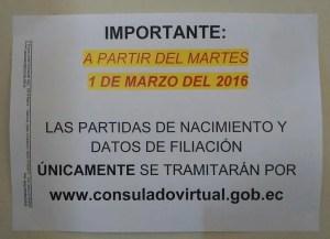 Foto aviso Consulado Ecuador cambio a partir de Marzo 2016
