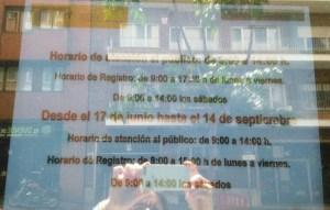 foto horario verano Delegación del Gobierno