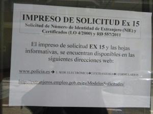 Foto aviso San Felipe solicitud NIE y certificados