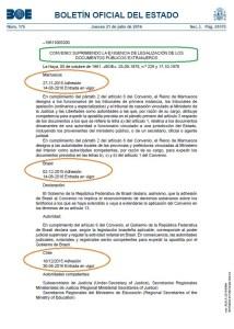 Foto convenio supresión exigencia legalización docs extranjeros BOE 21.07.2016