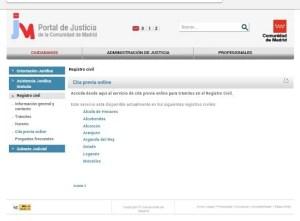 Foto portal de justicia Comunidad de Madrid cita previa online registros civiles
