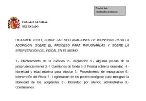 Foto título dictamen 7.2011 Fiscalía declaraciones de idoneidad para la adopción