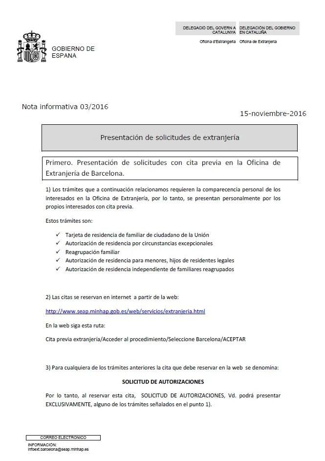 Nota informativa 3 2016 presentaci n solicitudes for Oficina de registro barcelona