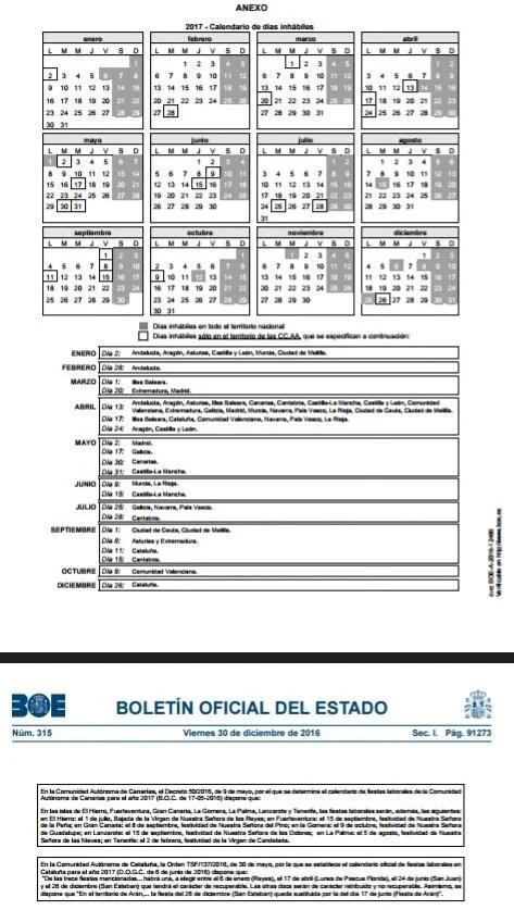 Boe Calendario.Calendario Dias Inhabiles 2017 Blog Extranjeria Asociacion Progestion