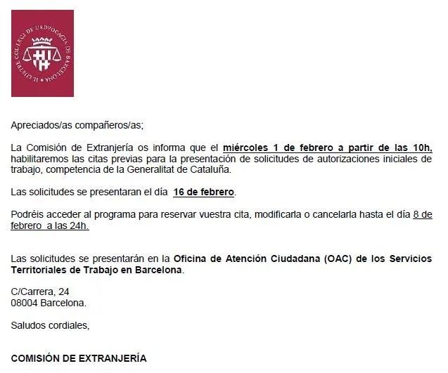 Habilitaci n citas solicitud autorizaci n inicial de for Oficina de empleo malaga cita previa
