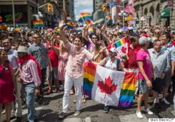 Prime Minister Justin Trudeau takes part in the annual Pride Parade in Toronto on Sunday, July 3, 2016. THE CANADIAN PRESS/Mark Blinch