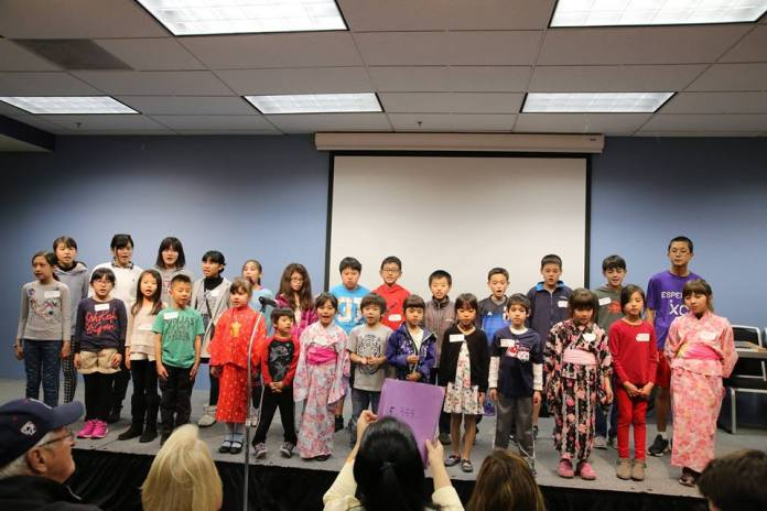 Tucson Japanese Language School choir performing a song