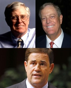 Gov. Doug Ducey is a stooge of the Koch Brothers, who fund him with Dark Money and instruct him on how to destroy life in Arizona.