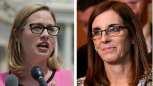 Democratic candidate Kyrsten Sinema and Republican Martha McShifty.