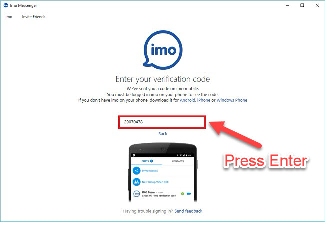 enter your phone number for imo verification