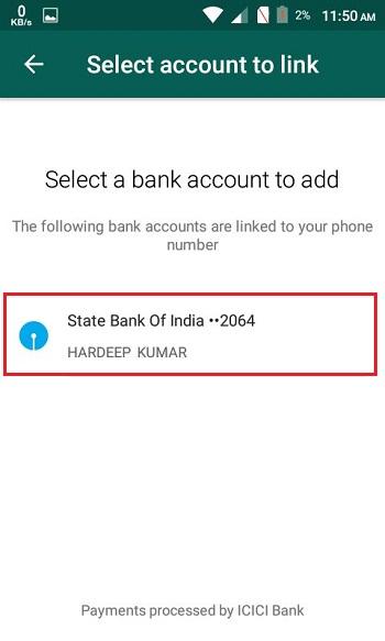 select bank account