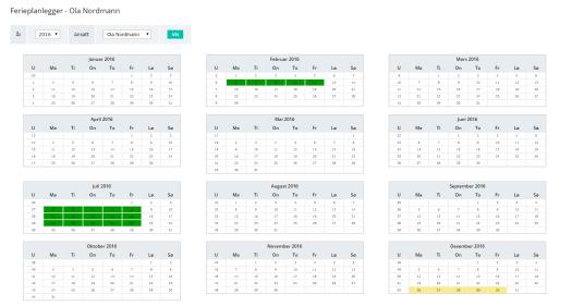 24onoff ferieplanlegger: Full oversikt over feriesøknader, både innvilgede og åpne.