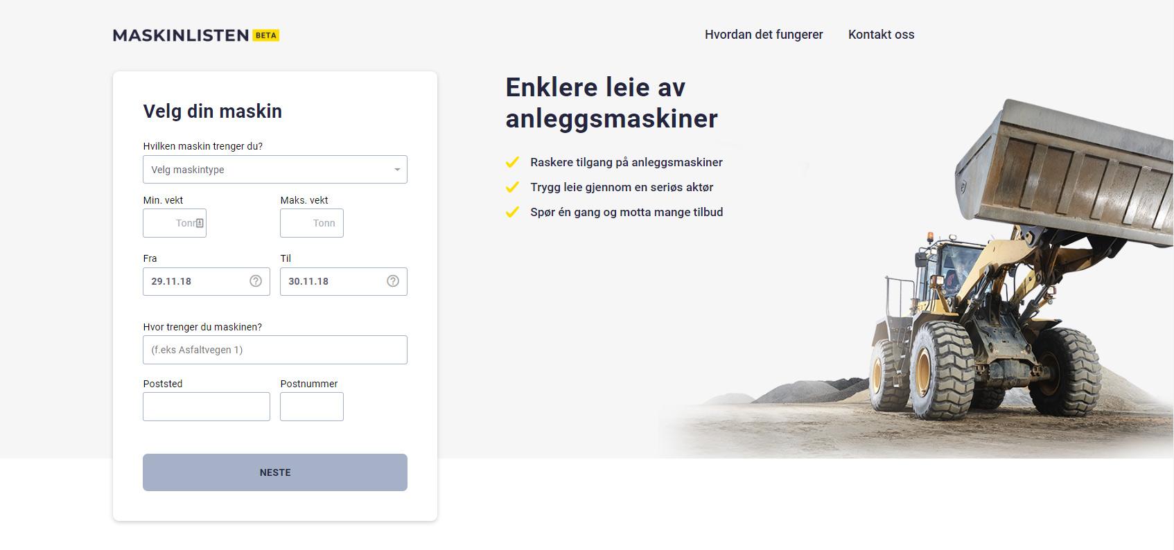 Maskinlisten.no på nett