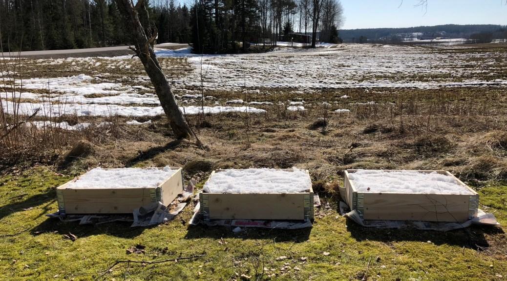 3 pallkragar vid kanten av en åker, täckta med snö.