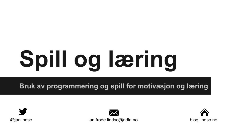 Presentasjon om spill og læring