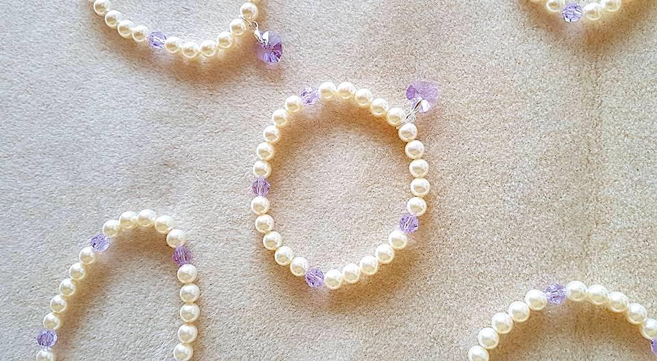 Swarovski pearl charm bracelet