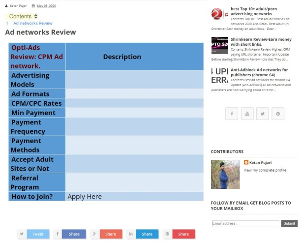 Desktop View: Add Responsive table in blogger