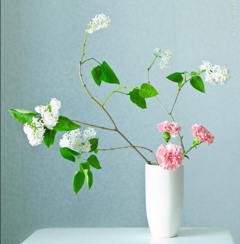 Slanting style moribana, ikebana, neigera, flowers art