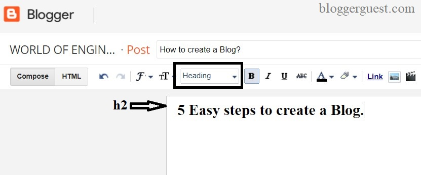 How to add h1 tag in blogger post/Blogspot post