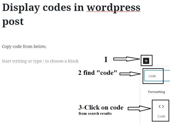 How to display codes in wordpress blog post?