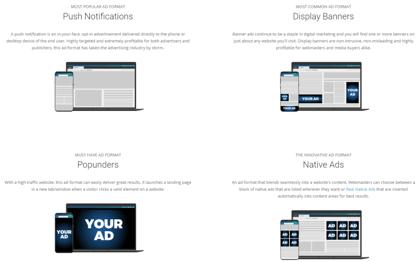 Plugrush Review : Ad formats