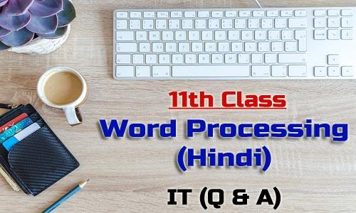 11th Class word Processing Hindi