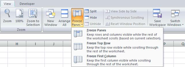 Freeze Panes Row and Column