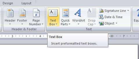 Text Box Word processing in english