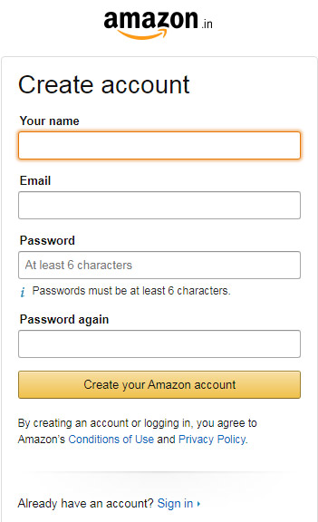 Amazon Account Form