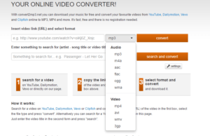 list download format video convert2mp3.net