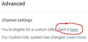 cara custom url channel youtube