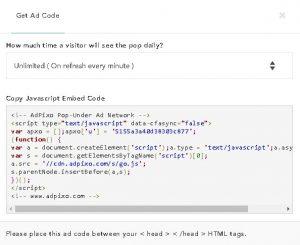 cara memasang iklan popup adpixo di blogspot dan wordpress 1