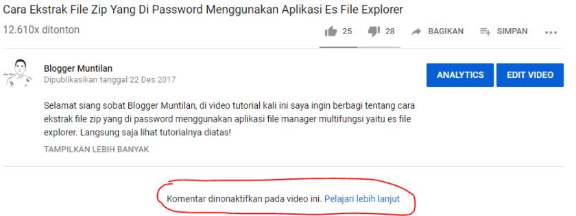 Cara Menonaktifkan Komentar Di Video Youtube 7