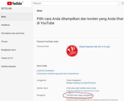 Cara Menambahkan Admin Pengelola Channel Youtube
