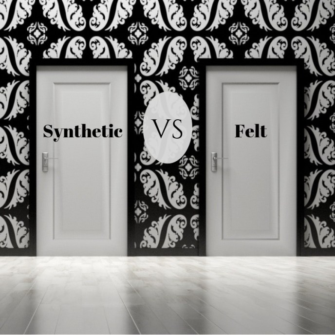 """Synthetic VS Felt"" across a background of two white doors."