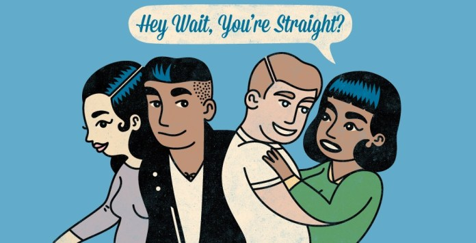 "Animated picture with text: ""Hey wait, you're straight?"""