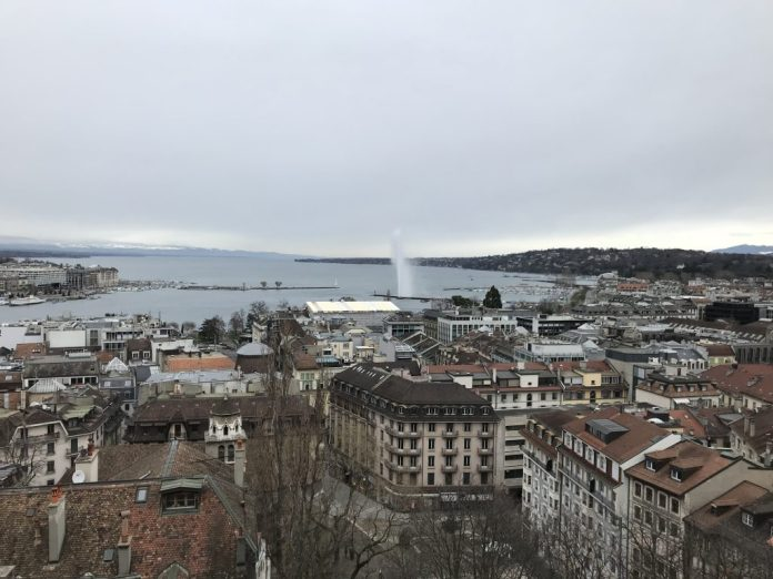 The famous Water Spout in Geneva, Switzerland