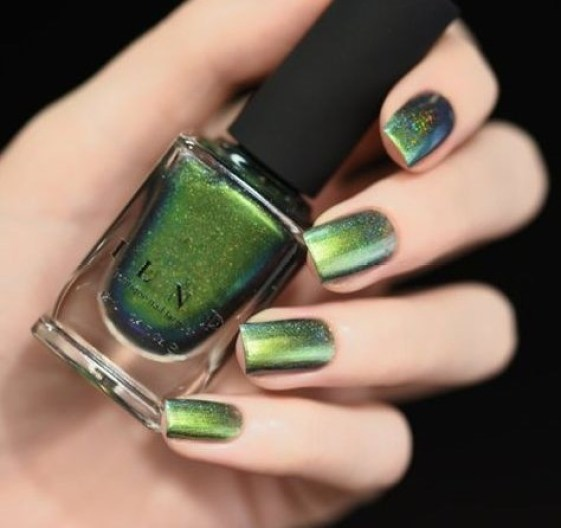 ILNP's Reminisce is a chrome nail polish that will give your green shades some dimension.