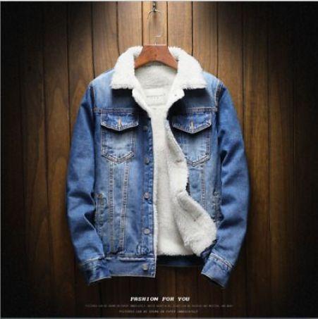 Men's Fleece Lined Winter Warm Coat Denim/Jean Fur Jacket Trucker Collar